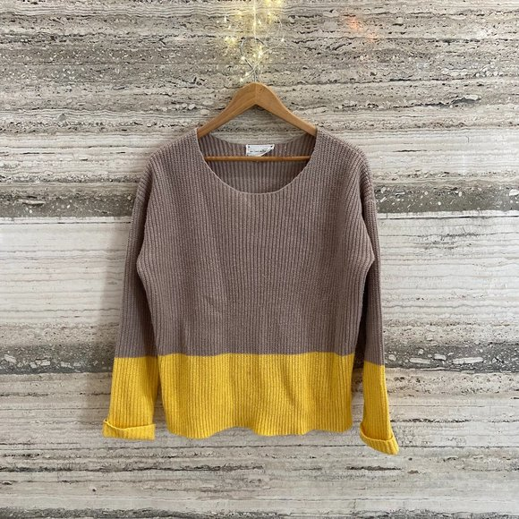 New Look Jumper Color Block Yellow Beige Size 10 Bought in France